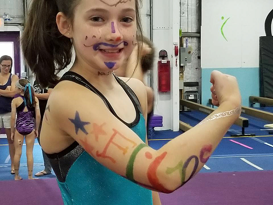 Flips Logo Painted Body Painting Event | Flips Gymnastics | Frederick MD